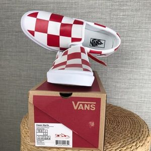 Vans Red Leather Check Classic Slip-On US Men 10